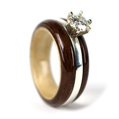 "Simply Wood Rings: ""Love is Now"" Walnut & Maple Wood Engagement Ring                                                                                                                                                     More"
