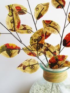 Fabric Leaves- Fall Paisley Floral Orange Gold Green Brown Branches (set of 3) by Jane Joss