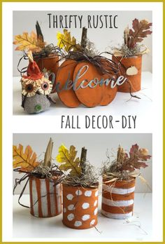 Turn your recycle into one nice fall home decor! Turn your tin cans into a rustic fall show stopper! Fall Pumpkin Crafts, Diy Pumpkin, Fall Pumpkins, Diy Fall Crafts, Holiday Crafts, Dollar Tree Fall, Dollar Tree Crafts, Rustic Fall Decor, Fall Home Decor