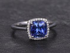 Cushion cut blue tanzanite ring18k white gold by nestwork on Etsy