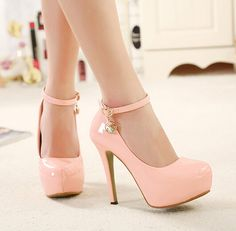 Pink Ankle Strap Design High Heels