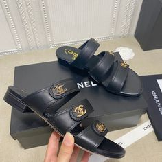 Chanel Brand, Leather Slippers, Chanel Shoes, Sandals, Fun, How To Wear, Purses, Zapatos, Leather Flip Flops