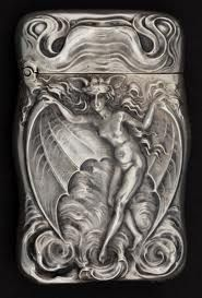 Unger Brothers sterling silver match safe, woman with bat wings and bat ears