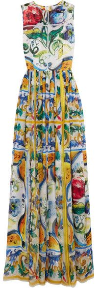 Dolce & Gabbana - Printed Silk Gown - Yellow