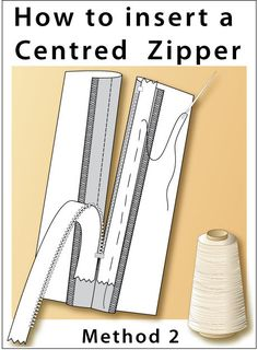 How to sew a centred zipper with a narrow channel. Useful skill for home sewers. Step-by-step instructions with illustrations. Sewing Basics, Sewing For Beginners, Sewing Hacks, Sewing Tutorials, Sewing Tips, Sewing Projects, Sewing Ideas, Sewing Stitches, Sewing Patterns