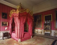 Mrs Wyndham's Bedroom with The Rococo State bed, probably from Wittle and Norman at Petworth House, West Sussex.