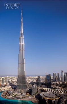 The Burj Khalifa, Dubai has a view of the Persian gulf.