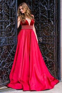 Red Plunging Neckline Pleated Skirt Ballgown 33337