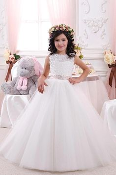 Hot Sale White Lace Flower Girl Dresses for Weddings 2016 Lace Bow Girls Pageant Dresses First Communion Dresses for Little Girls