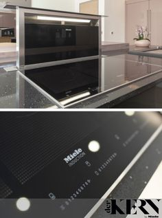 This Miele Downdraft Extractor and Induction Hob combination makes for a striking statement piece on this kitchen island. The extractor can be subtly hidden away when not in use Kitchen Hob, Hidden Kitchen, Small Kitchen Appliances, Kitchen Island, White Kitchen Decor, Kitchen Colors, Kitchen Design, Downdraft Extractor, Updated Kitchen