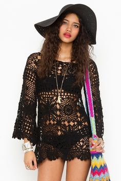 Ashbury Crochet Dress - Black    Great for a day at the beach!