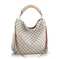 """The Soffi in Damier Azur canvas is versatility itself thanks to its removable shoulder strap and handle. The three-part red edge dyed leather handle highlights its intricate attention to detail. Size (LxHxD): 13.4"""" x 13.0"""" x 3.9"""" - Natural cowhide leather trim - Shiny golden brass metallic pieces - Hidden magnetic closure - Wide opening for easy access - Textile lining - 2 interior pockets and one large zipped pocket FREE SHIPPING USPS PRIORITY MAIL ARRIVES 2-3 DAYS"""