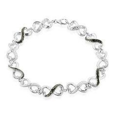 Black and White Diamond Accented Infinity Bracelet in Sterling Silver 7.5, (tennis bracelet, black diamond jewelry, necklace, black diamond, netaya, necklaces, bracelets, beaded, black diamond bracelet, diamond hoop earrings) jewelry beauty