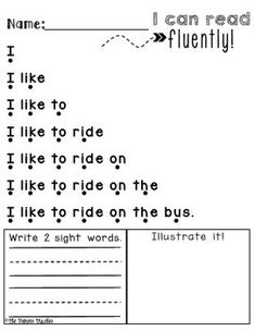 - Instructional Design Production - 40 pages of sentence fluency. Then write 2 sight words and illustrate the sentence to show comprehension. Phonics Reading, Reading Worksheets, Kindergarten Reading, Teaching Reading, Reading Comprehension, Nursery Worksheets, Homeschool Kindergarten, Free Reading, Learning