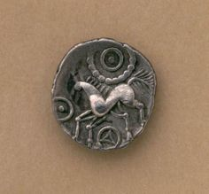 Silver Celtic Iceni unit. Britain, 1st century A.D. The Iceni were a British tribe inhabiting the area around Norfolk from the 1st century B.C. to approximately the end of the 1st century A.D. They started using coins as a means of payment at around 10 B.C. This particular coin has a stylized horse depicted on it. Other coins would have equally stylized versions of animals.