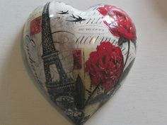 Ceramic Wall Heart   'Belle France'   SMALL size