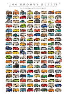 VW Bus Posters by cliff serna, via Behance karavan Transporteur Volkswagen, Volkswagen Transporter, Bus Camper, Volkswagen Bus, Vw T1, Campers, Vw T3 Doka, Vw Vanagon, Eriba Puck