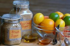 Homemade Citrus Body Scrub from mossymossy.com - her scrubs use much less oil than a lot on the web