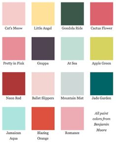Dorothy Draper is my idol.Dorothy Draper Paint Chips from Benjamin Moore Colores Benjamin Moore, Benjamin Moore Paint, Wall Colors, Paint Colors, Colours, Blue Colors, Accent Colors, Regency Era, Pallets