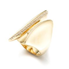 Alexis Bittar Gold Marquis Pavé Diamond Cleaved Ring in 18k Gold