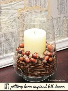 Acorns in a Candle Holder are Gracefully Appealing