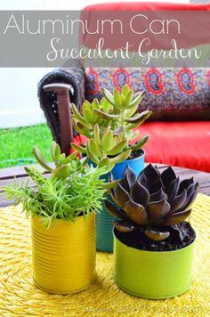Aluminum Can Succulent Garden via SewWoodsy.com #plant #color