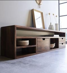 Small Tv Cabinet, Tv Stand Cabinet, Low Cabinet, Tv Rack Design, Tv Cabinet Design, Tv Unit Design, Living Room Wall Units, Living Room Designs, Tv Furniture