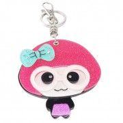 Chaveiro boneca com espelho - pink