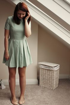 mint collar dress