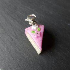 Cake charm with pink flower, polymer clay charm, keychain charm, pink cake accessory, polymer clay cake by chapelviewcrafts on Etsy