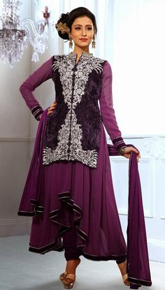 USD 81.96 Purple Embroidery Designer Faux Georgette Anarkali Suit 27801