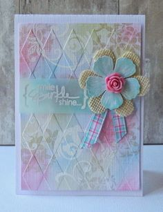 "Beautiful Pastel ""Sparkle"" Card...Ros Crawford: ros-mikeysmomblogspot - Playing with chalks."