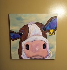 Dairy Cow 418, 30x30 acrylic painting by Ana Peralta by DecoArtz on Etsy https://www.etsy.com/listing/476169471/dairy-cow-418-30x30-acrylic-painting-by