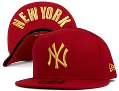 Scarlett Gold Yankees 59Fifty Fitted Cap by NEW ERA x MLB