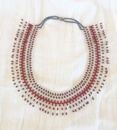Red Blue & White Hand Beaded Necklace by CreationsOfGrandeur