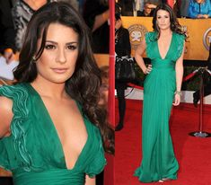 Love this emerald green dress with plunging neckline. Lea Michele, 2010 SAG Awards, Catherine Malandrino.