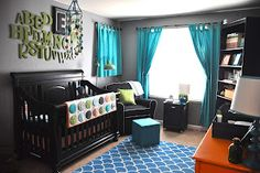 Orange, teal, and green nursery. Great little boy nursery idea - love the letters and the idea of blue and grey.