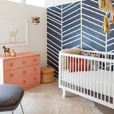 thinking of chevron blue wall for squid's nursery