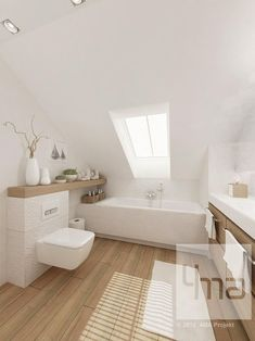 Salle de bains - White with light brown wooden accent colors✅ Loft Bathroom, Bathroom Interior, Small Bathroom, Bathroom Ideas, Bathroom Things, Downstairs Bathroom, Attic Renovation, Attic Remodel, Attic Spaces