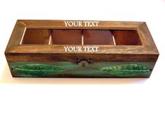 Wooden Tea Keepsake Jewelry Box 6 Compartments by WoodPower