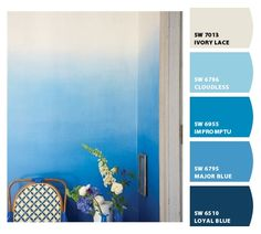 Blue Ombre / Paint colors by Sherwin-Williams / SW Ivory Lace / SW Cloudless / SW Impromptu / SW Major Blue / SW Loyal Blue