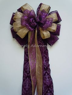 Purple Gold Christmas Bow Purple and Gold wedding bow by SimplyAdornmentsss