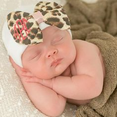 Melondipity Pink and White Wide Striped Big Bow with Monogram Baby Girl Hat