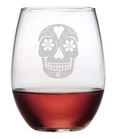 This Day of the Dead Stemless Wine Glass - Set of Four is perfect! #zulilyfinds