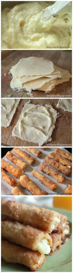 Cinnamon Cream Cheese Rollups…just white bread, crusts removed flattened, spread w sweetened cream cheese, rolled jelly roll style, then dipped in cinnamon sugar baked until crispy crunchy cream cheese is hot oozing. Delicious finger food for a brunch or shower.