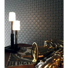 Papier peint Stein noir - collection Ellington de Casamance : chambre, entrée, pièce à vivre