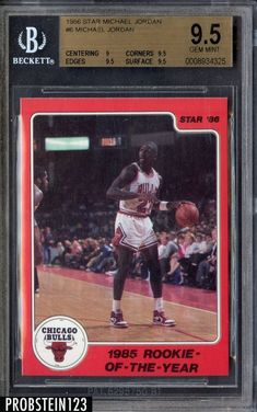8380f522f4a849 1986 Star Rookie of The Year  6 Michael Jordan Bulls RC Rookie HOF BGS 9.5   MichaelJordan