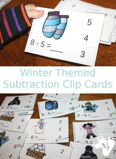 Free Easy to use Winter Themed Subtraction Clip Cards - 10 pages of clip cards with subtraction 0 through 10 - 3Dinosaurs.com