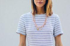 Akola necklace, striped skater dress — via @TheFoxandShe