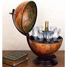 "Tabletop 16th-century Italian Replica Globe Bar - 13"" diameter--gift idea for next year?"